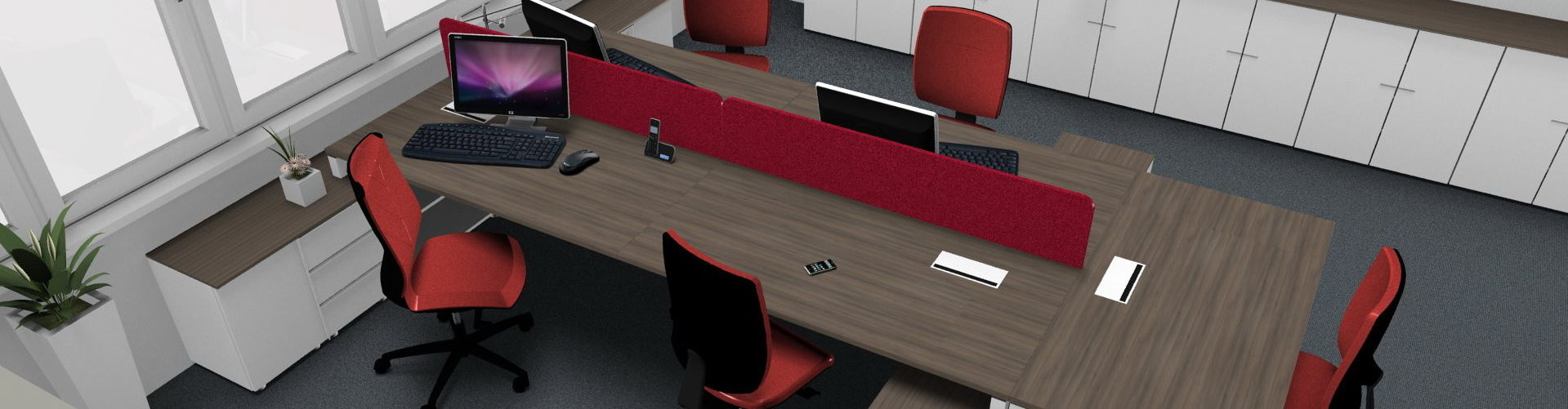 Kancelářské pracoviště 5 míst, kombinace ořech-bílá